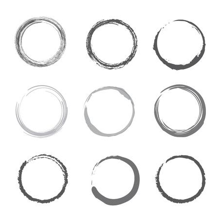 ink illustration: Brush stroke circles vector illustration set with Ink Illustration