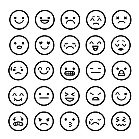 Vector icons of smiley faces emotion Cartoon Illustration