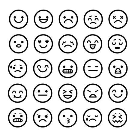 vectores iconos de las caras sonrientes de dibujos animados emoción