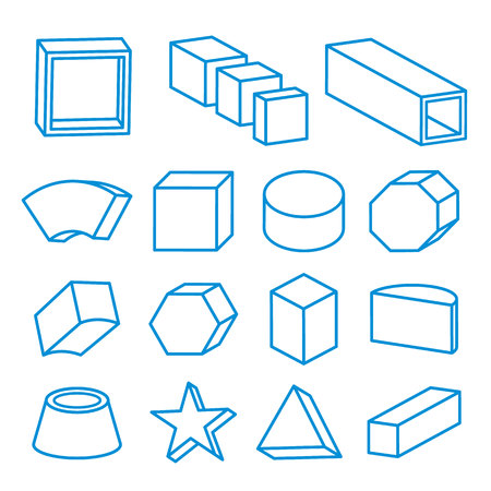solids: set of geometric shapes, platonic solids, vector Icon Line illustration
