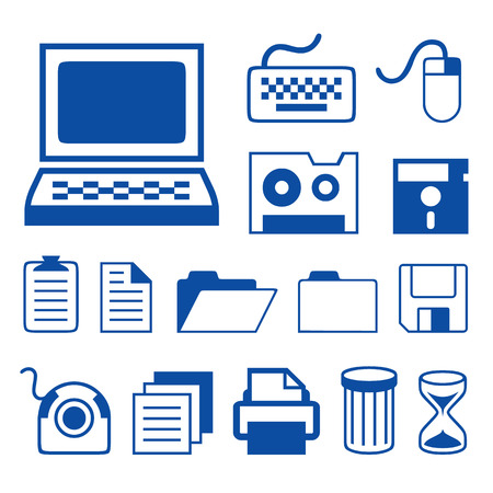 lcd monitor printer: Computer Accessories Technology Icons Vector
