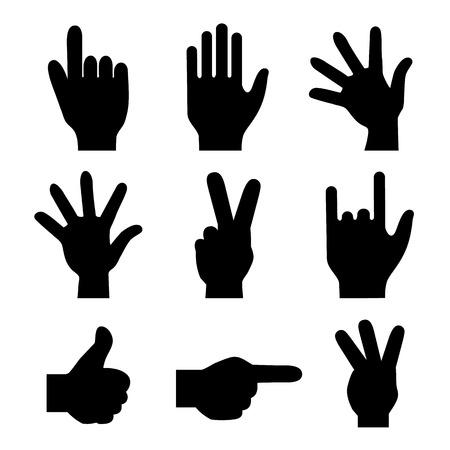 beg: hands fingers signals over white background vector illustration