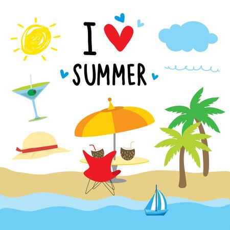 summer cartoon: Summer Beach Holiday Cartoon vector illustration