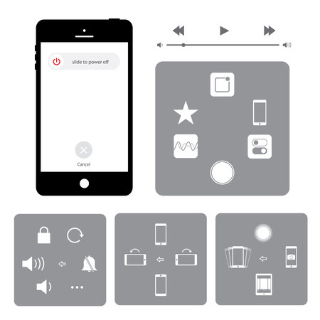 phone button: Touchscreen smart phone mobile application button icon Vector illustration Illustration