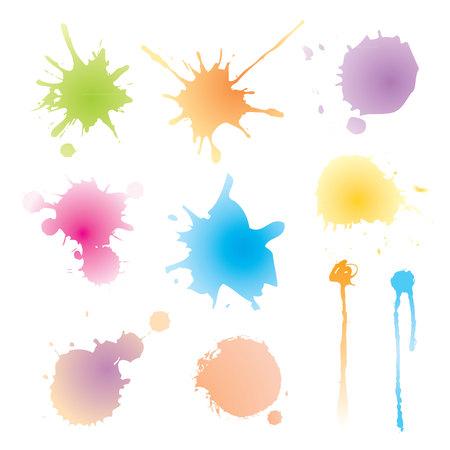 splutter: vector set of colorful watercolor blots