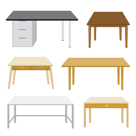 Möbel Holztisch isolierte Darstellung auf weißem Hintergrund