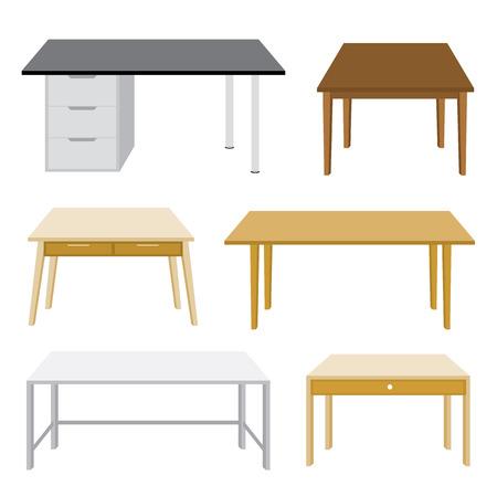 Meubilair Houten tafel geïsoleerd illustratie op witte achtergrond Stock Illustratie