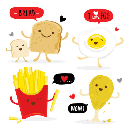 Toasted bread food Chicken Egg French Fries Cartoon Cute Vettoriali