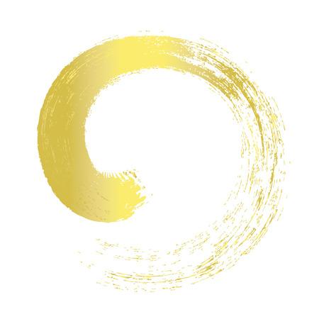 gold circle: Gold brush stroke line circle paint Illustration