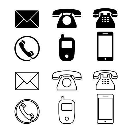 Différent icône simple téléphone téléphone illustration