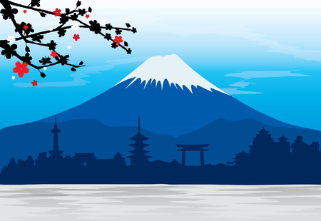 Berg Fuji Japan Sakura View Landschap Travel Place Stock Illustratie