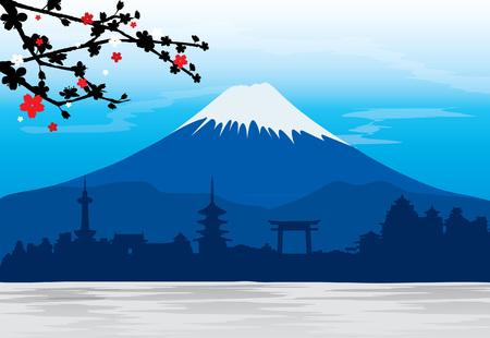 Mountain Fuji Japan Sakura View Landscape Travel Place