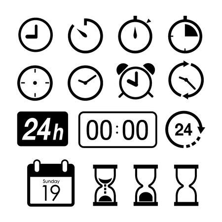 El tiempo y los iconos del reloj en el fondo blanco. ilustración vectorial