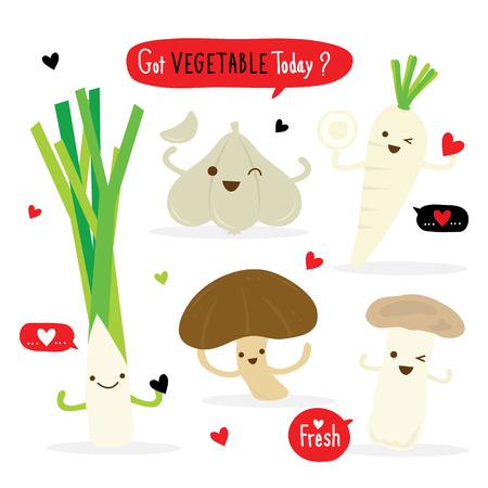 shiitake: Vegetable Cartoon Cute Set Radish Shiitake Eringii Mushroom Garlic Leek Vector Illustration