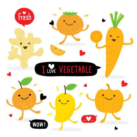 Vegetable and Fruit Cartoon Cute Set Ginger Pumpkin Mango Orange Carrot Persimmon Vector