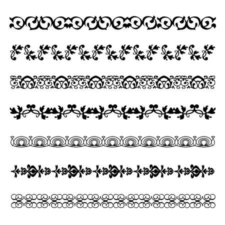 scroll shape: Vintage ornament divider elements Linedecoration retro style floral Vector