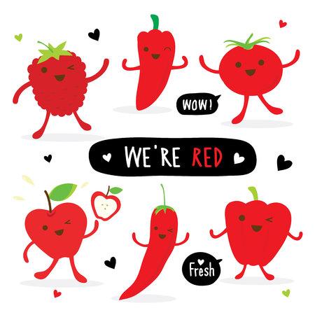 야채와 과일 만화 귀여운 세트 고추 레드 칠리 토마토 애플 딸기 벡터