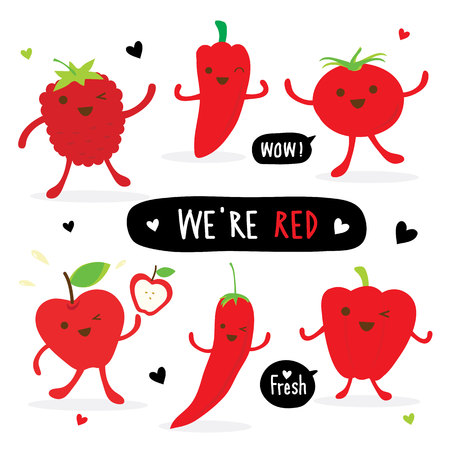 Vegetable and Fruit Cartoon Cute Set Pepper Red Chili Tomato Apple Strawberry Vector