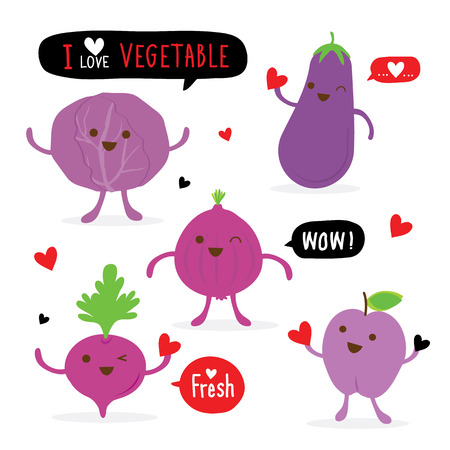 Vegetable and Fruit Cartoon Cute Set Shallot Eggplant Beetroot Cabbage Plum Vector Illustration
