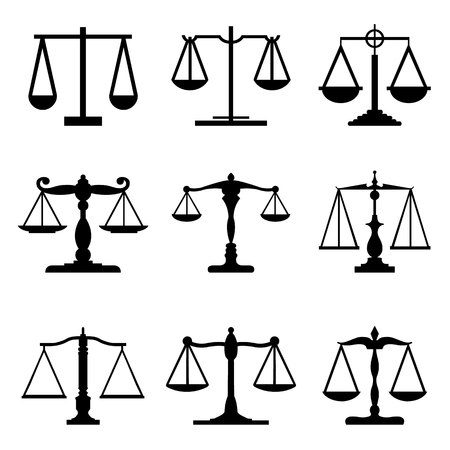 justice scale: Vintage mechanical balance scales Fair Equal Judge icons Vector Illustration