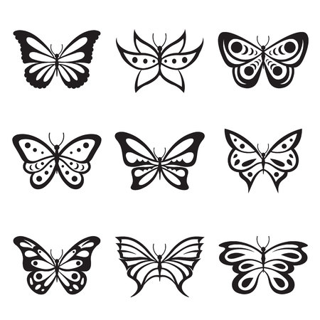 Black Animal Insect butterfly tattoo and silhouettes Icon Vector Vectores