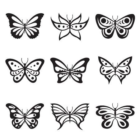 Zwarte Animal Insect vlinder tattoo en silhouetten Icon Vector Stock Illustratie