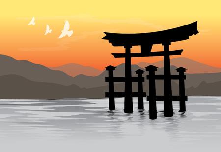 Miyajima, de beroemde Drijvende Torii-poort, Japan. Vector