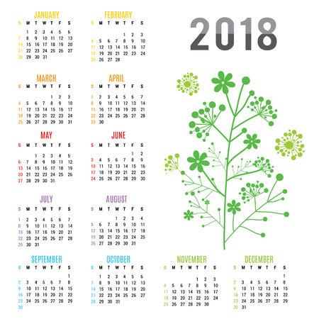 Planner Calendar New Year 2018 Flower Vector Illustration