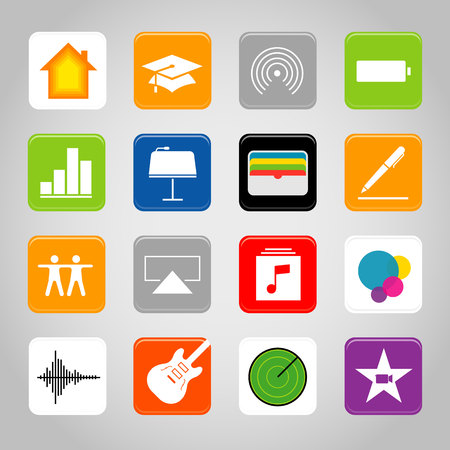 Touchscreen smart phone mobile application button icon Vector illustration Иллюстрация