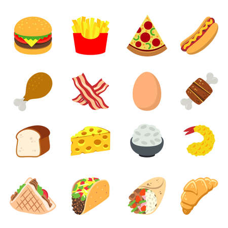 Fast food Eat Cook Breakfast Lunch Dinner Icon Symbol Vector