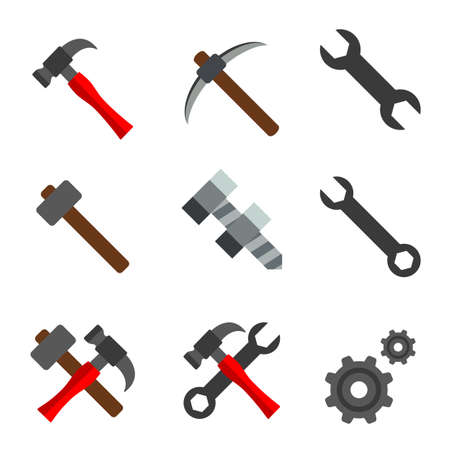 Hammer Wrench Spanner Gear Element Icon Vector illustration. Illustration