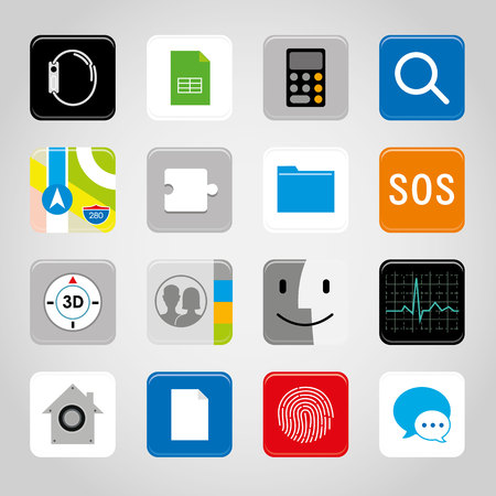 Phone mobile application button icon for smart phone on colored illustration. Иллюстрация