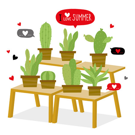 Cactus icon flat design element plants pot flower prickle cartoon vector. 矢量图像
