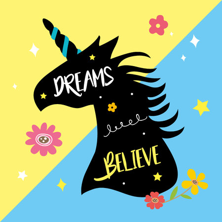 Unicorns Horse Cute Dream Fantasy Cartoon Character Vector Illustration