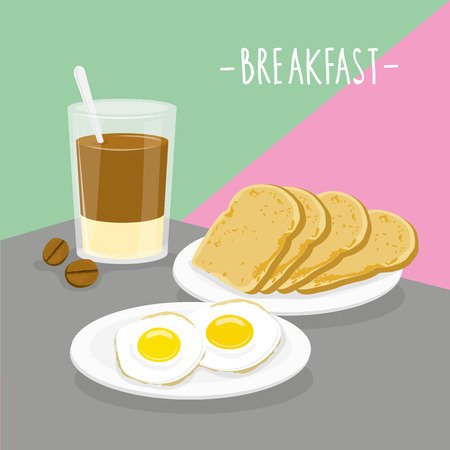 Chocolate drink in a glass, bread and egg vector illustration.