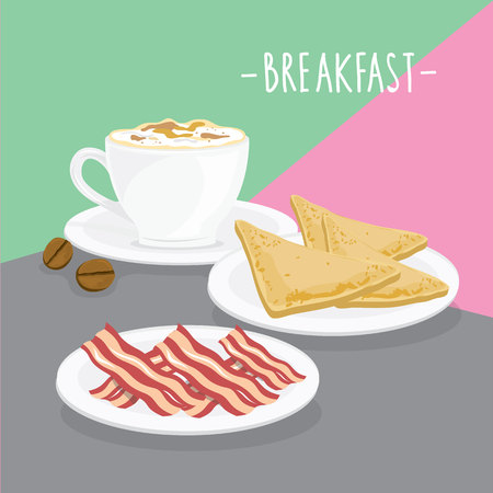 Cup of coffee, sandwich and bacon vector illustration. Çizim