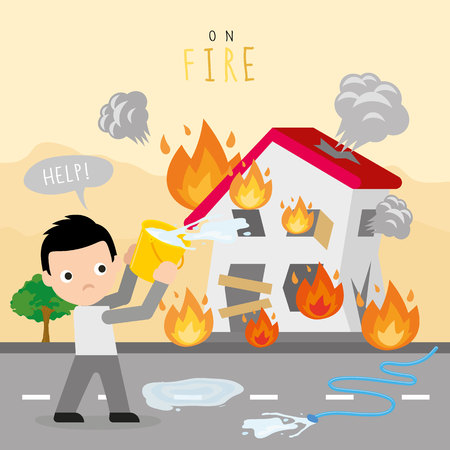 Fire burn house home boy danger help cartoon character vector.