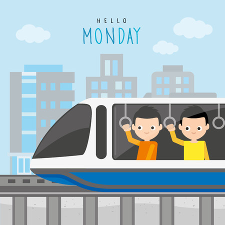 Electric Train Station Public Sky Subway Railway City Modern Boy Cartoon Character Vector