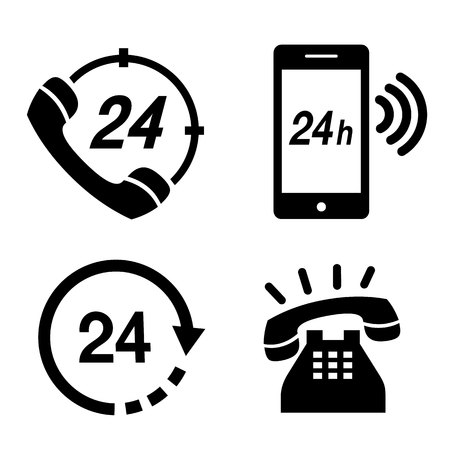 Icon Phone 24 hours Operator Service Simple Telephone Communication Vector illustration