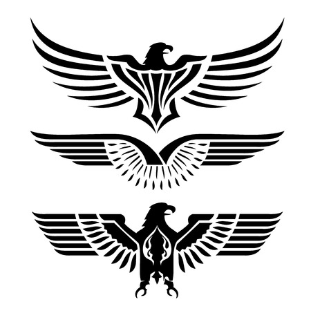 Eagle Head Fly Logo Black Icon Tattoo Vector Illustration Ilustrace