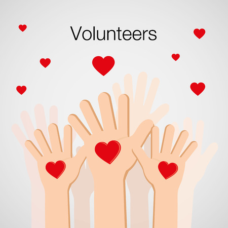 Volunteers and Charity Concept Human Hand Up for Social Activity Vector Çizim