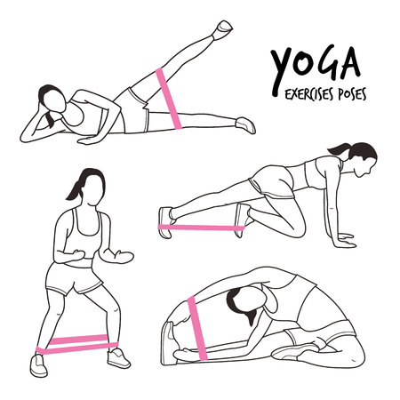Slim Girl Practicing Yoga Stretching Exercises Fitness Workout Poses Cartoon Vector Illustration Çizim