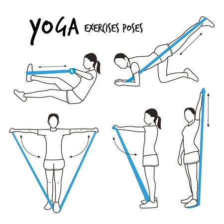 Slim Girl Practicing Yoga Stretching Exercises Fitness Workout Poses Cartoon Vector Illustration Illustration