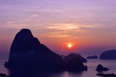 Amazing Travel and colorful viewpoint before sunrise at Samed Nang Chee, Unseen in Phang-nga, Thailand. Stok Fotoğraf