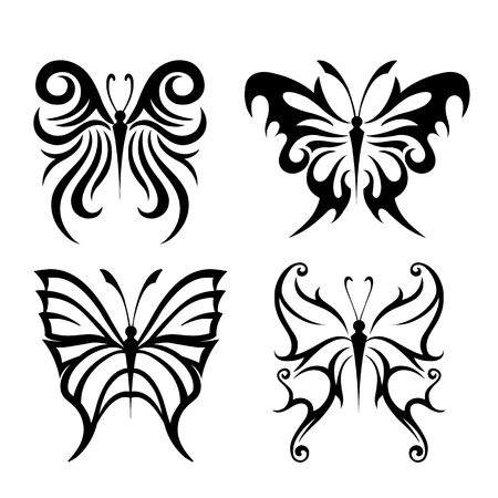 Black Animal Insect butterfly tattoo and silhouettes Icon Vector Çizim