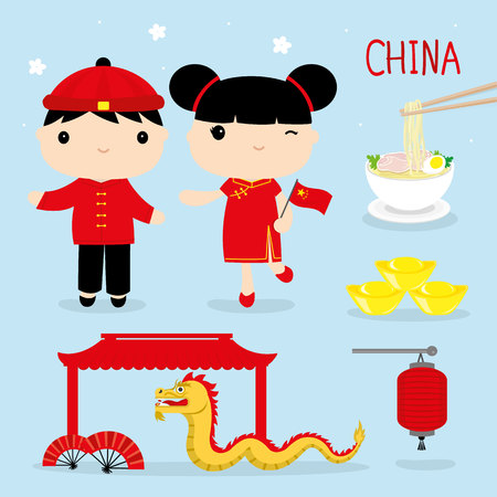 China Tradition Food Place Travel Asia Mascot Boy and Girl Cartoon Vector Çizim
