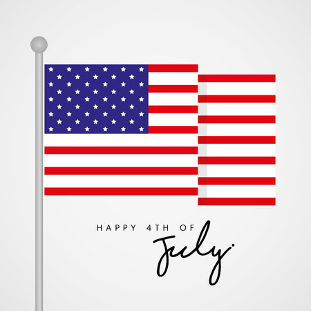 Happy 4th of July, United State Independence Day Greeting with Flag Vector