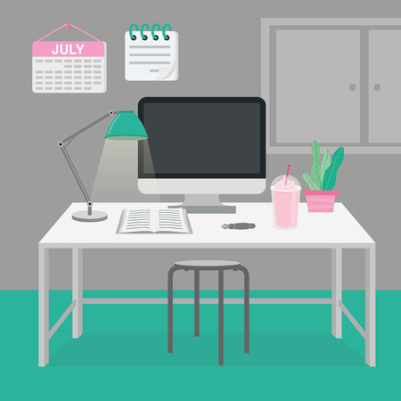Office Room in Workplace with Simple Furniture and Interior Design Vector