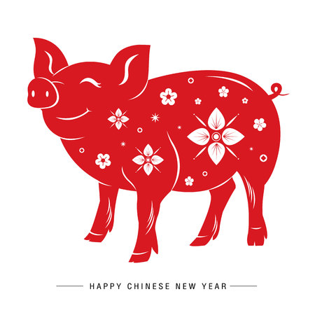 Happy Chinese New Year 2019, Pig Red Chinese Zodiac Sign Vector