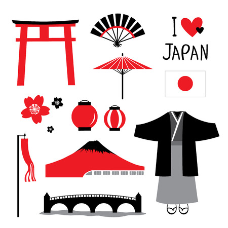 Japan Flat Icons Design Travel Set Red and Black Collection Vector